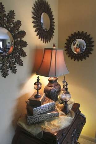 Mirrors throughout the house as a design element.