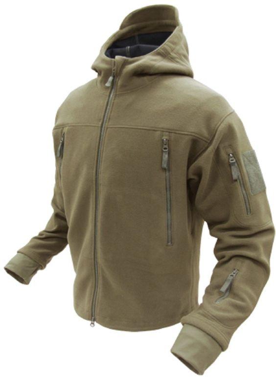 Condor Outdoor Sierra Micro Fleece Jacket With Thumb Holes & Hood -Tan, Black OD