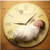 Set the clock to the time the baby was born.