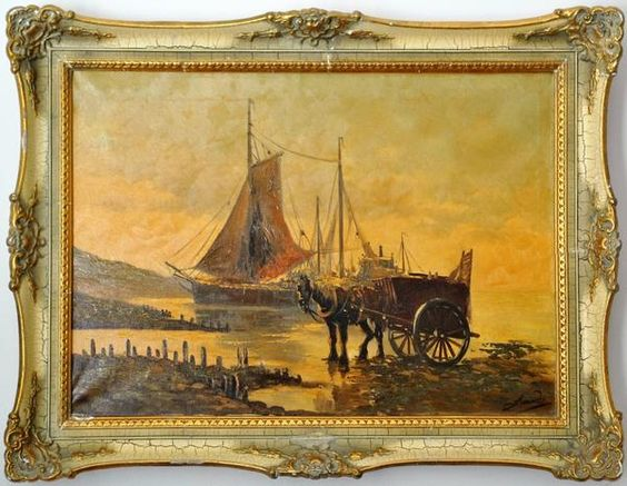 Impressionist Painting Mediterranean Harbor Cargo Boat Horse and Buggy Signed