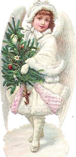 Oblaten Glanzbild scrap die cut Winter Engel angel christmas Weihnachten Baum:
