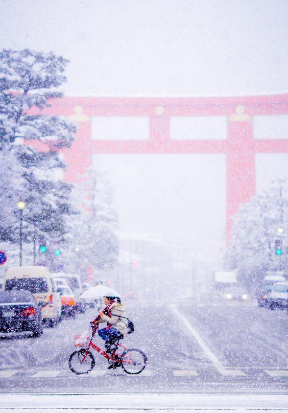Snow - Heian shrine, Kyoto, Japan