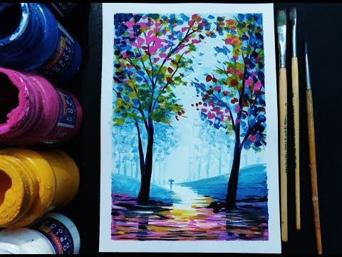 Easy Painting Step By Step For Beginners Landscape Youtube Poster Color Painting Painting Easy Paintings