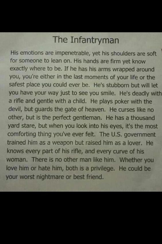 He knows every part of his rifle and every curve of his woman #true #infantry