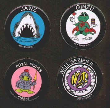 WORLDS OF FUN POGS (Worlds of Fun, BENJY, 1993): Lot of 4 different, Smooth surface, Assorted lot with Jawz, Ginzu and Wall Series II, plus Die-cut, Printed in Hong Kong, Royal Frogs Knight. All for $1.25