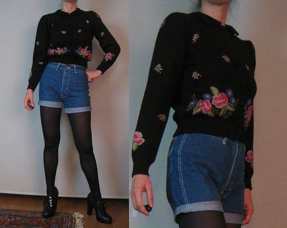 Vintage 80s EMBROIDERED HERMAN GEIST Velvet Peter Pan Collar Roses Austrian German Puff Slv Black Wool Knit Cardigan Sweater xs Small 1980s on Etsy, $75.00