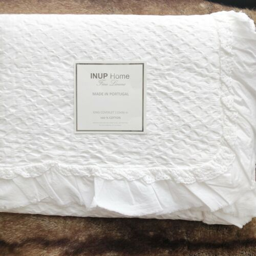 Inup White King Coverlet Matelasse Bedspread Ruffled Crochet Trim Made Portugal Ebay Embroidered Duvet Cover Crochet Trim Coverlets
