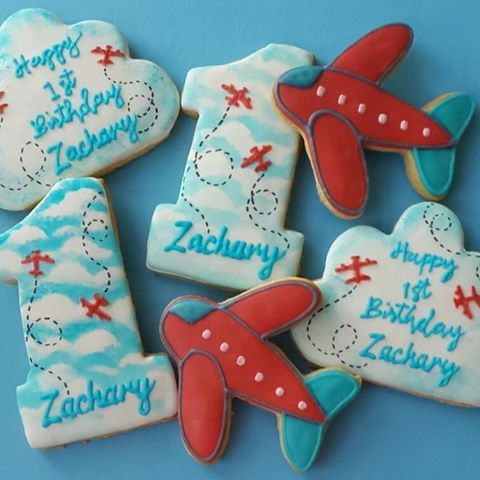 Happy 1st Birthday Zachary Fly High Little One Firstbirthdaycookies Airplanecookie Cloudcook With Images First Birthday Cookies Happy 1st Birthdays Birthday Cookies