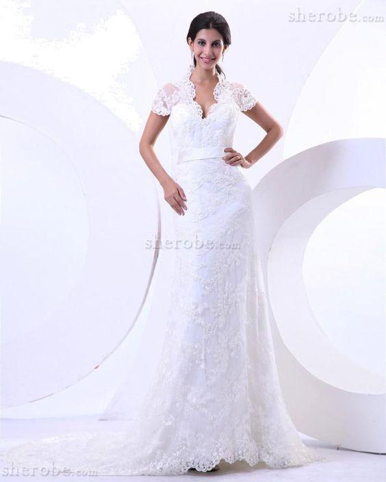 Meerjungfrau Stil Perlenbesetztes Queen neckline Brautkleid mit Gürtel mit Spitze - Bild 1