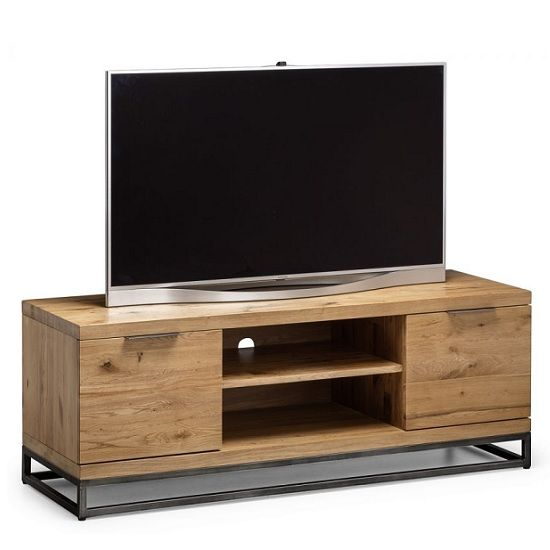 Amilia Wooden Tv Stand In Solid Oak And Metal Legs Wooden Tv Stands Solid Oak Tvs