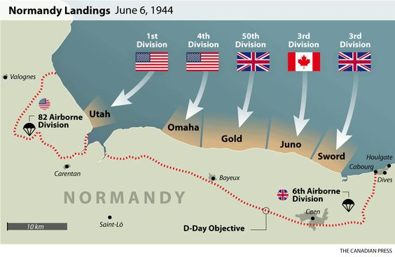 d day landing beaches map