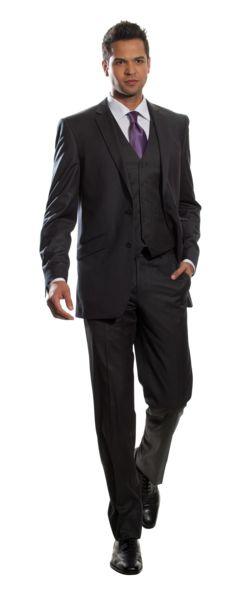 Black Pinstripe 3 Piece Slim Fit Suit | Combatant Gentlemen