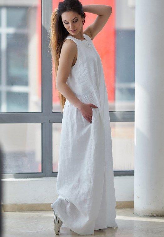 Beyaz Yazlik Keten Elbise Modeli 2019 Trendler Ve Moda Pfw 2019 Spring Summer Fashion Runway Fashio Maksi Elbiseler The Dress Buyuk Beden Kiyafetler