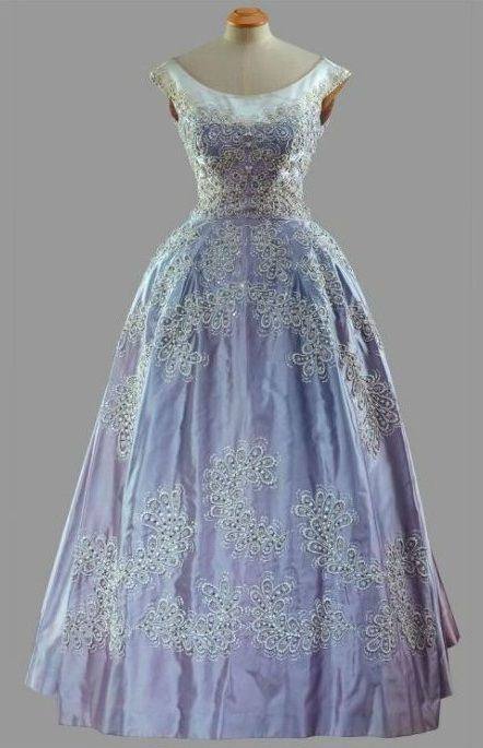 """Formal Gown, Norman Hartnell: 1961, faille dress embroidered with china beads. """"Worn [by HRH Queen Elizabeth II during the State Visit to Pakistan, February 1961."""""""