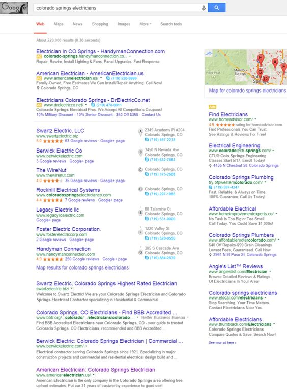 """Infront client American Electrician ranking first pages of Google under term """"Colorado Springs Electricians""""."""