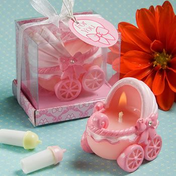 Adorable Baby Pink Carriage Candles