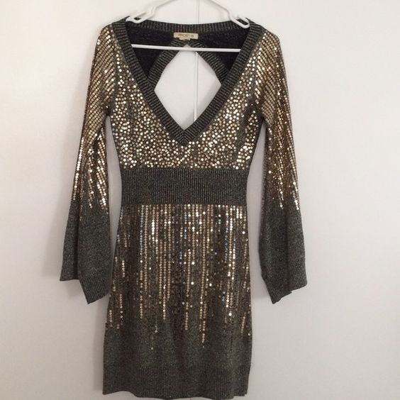 Gold backless sequin dress Beautiful sequin dress worn once. Bell sleeves with open back. Sweater material. Dresses Long Sleeve