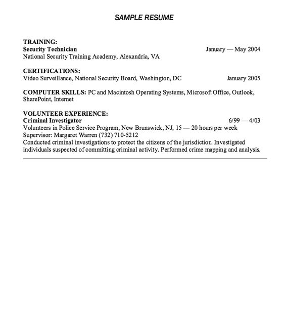 Corporate Security Resume Example - http\/\/resumesdesign - police volunteer sample resume