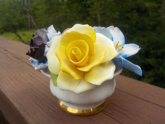 Vintage Staffordshire Floral Candle Holder, Applied Flowers, Made In England