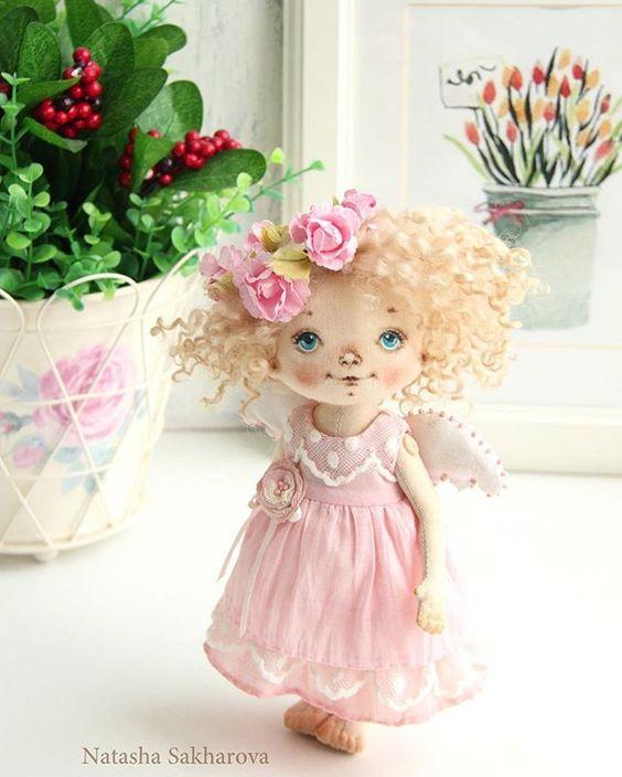 Ангел в нежно розовом. Малышка продана. #ангел #куклысахаровойнатальи #интерьернаякукла: