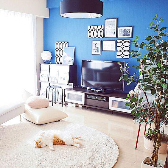 ReikoさんのLounge 本棚 IKEA テレビ台 リビング DIY ファブリックパネル 北欧 マンション テレビボード 北欧インテリア ウォールディスプレイ walpa 北欧風 IKEA 照明 ソファ 白 IKEA ラグ ikea ソファ フランフラン照明 ねこのいる日常 ねこインテリア 剥がせる壁紙 猫のいる生活 もみじ君 ニトリ フェイクグリーン 壁紙ブルー ブラウン家具 貼るだけ DIYに関する部屋写真