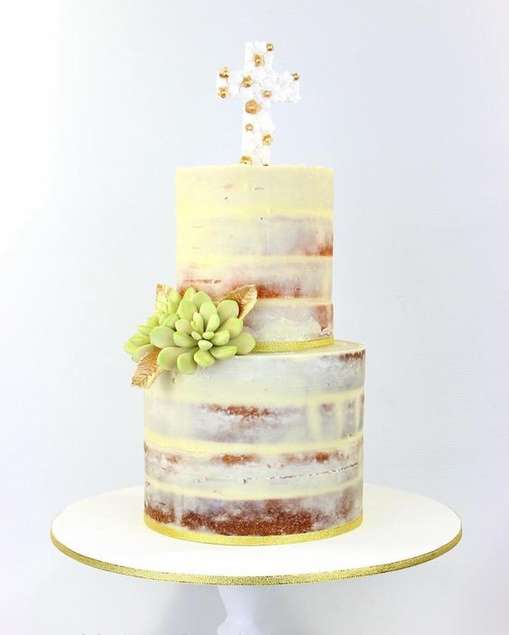 Naked Christening cake with sugar succulents & cross!