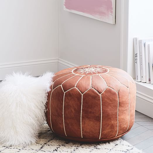 Leather Moroccan Pouf #westelm