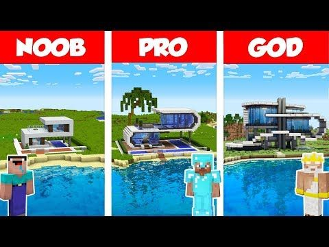 Minecraft Noob Vs Pro Vs God Modern Beach House Build Challenge In Minecraft Animation Youtube In 2020 Modern Beach House Noob Building A House