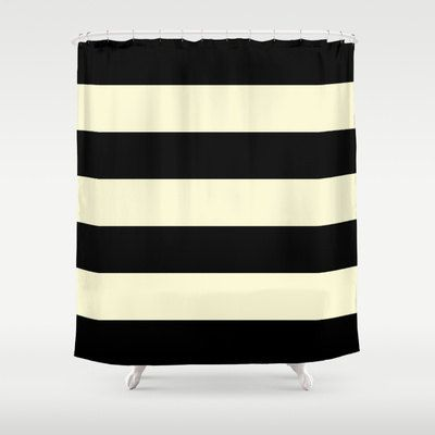 Minimalist Outdoor Contemporary Curtains Black And Cream Stripe Shower Curtain Chic Designer Decor Minimalist Bat