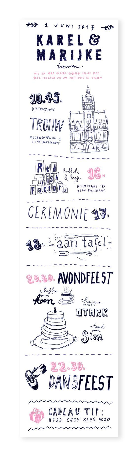 Wedding Invitation Karel and Marijke by Anne Manteleers, via Behance