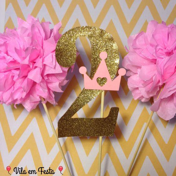 Enfeites Topo de Bolo Tema Princesas! R$15,00 número com Coroa. Festa, Princesas, Monte Sua Festa, loja virtual, decoração