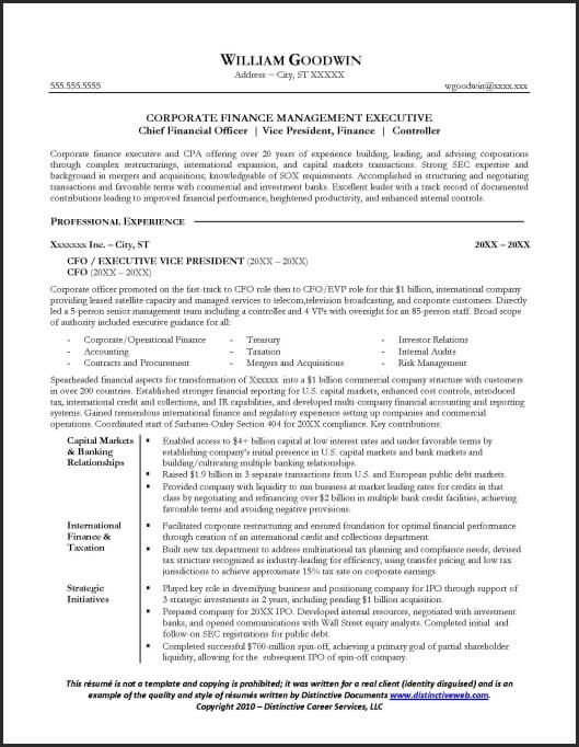 This Sample Cfo Resume Is Just An Example To Show The Quality And Style Of Our Professional Resume Examples Professional Resume Writing Service Resume Examples