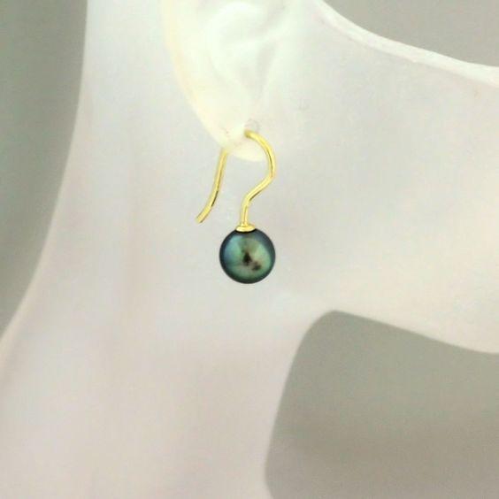 Perlen Ohrringe tahiti-grün Ohrhänger Akoyaperlen 7,2 mm gold