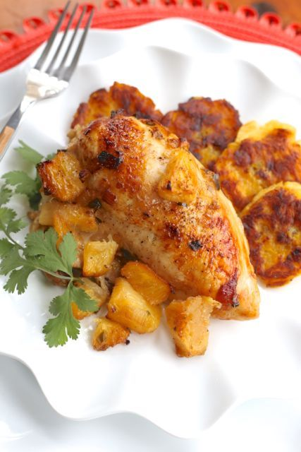 Roasted Pineapple Rum Chicken -Served over rice or ...