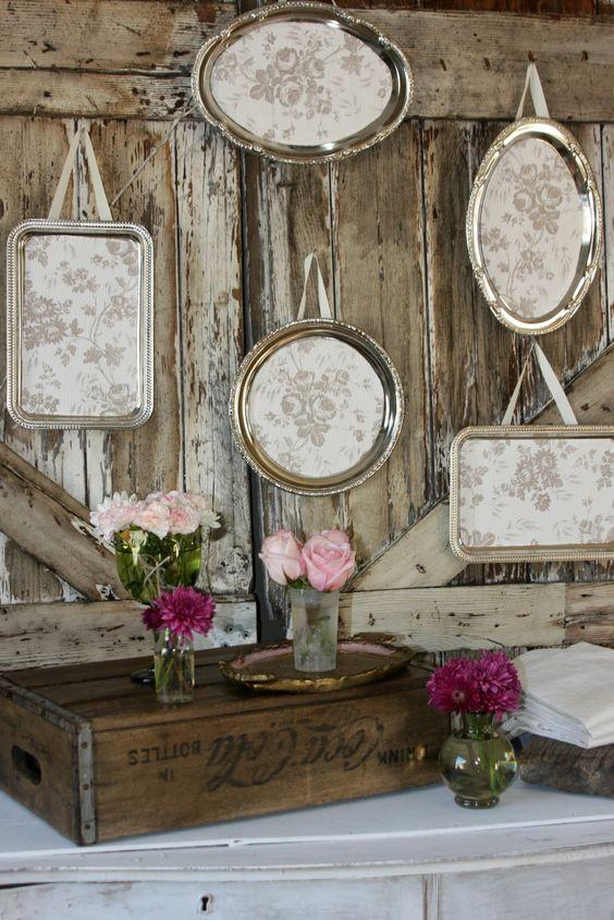 Salvage Dior Dollar tree silver (plastic) trays made beautiful. Neat !