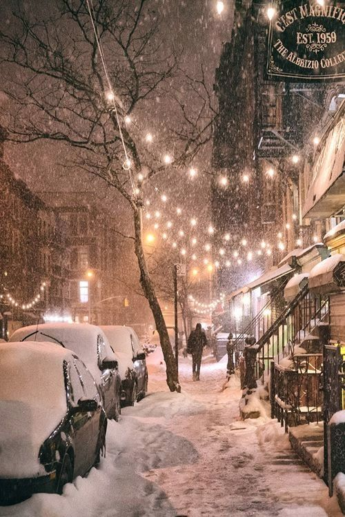 NYC. Winter night, East 9th Street, East Village - This is what I wish every Christmas Eve would bring:
