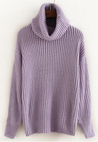 Sweet Turtleneck Candy Color Long Sleeve Pullover Sweater For Women