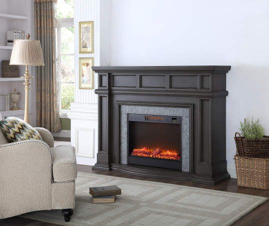 62 Gray Grand Electric Fireplace Traditional Fireplace