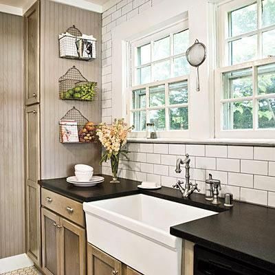 farm sink! Countertops and backsplash tile. Gray grout gives a vintage look. Like white cabs better