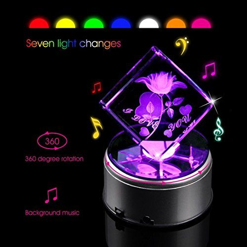 Biutee Crystal Music Box 3d Laser Etched Crystal Cube Rotating Rose Night Lamp Home Decor First Night Lamps Music Box Nursery Wall Decor Girl