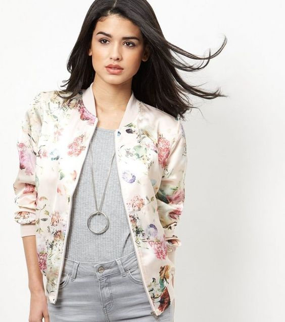 Pink Floral Print Bomber Jacket | New Look £30 23.5.16 | Stuff I ...