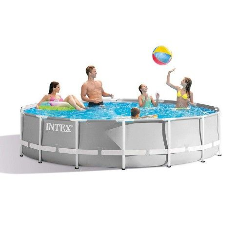 Intex 14 Foot X 42 Inch Prism Frame Above Ground Swimming Pool Set With Filter Target Above Ground Swimming Pools Intex Backyard Pool Parties