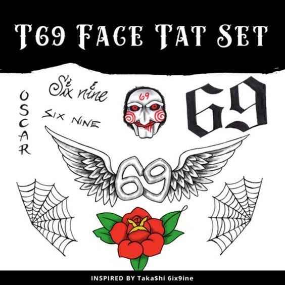 Tekashi 6ix9ine Temporary Face Tattoo Set Temporary Face Tattoos Face Tattoo Jigsaw Tattoo