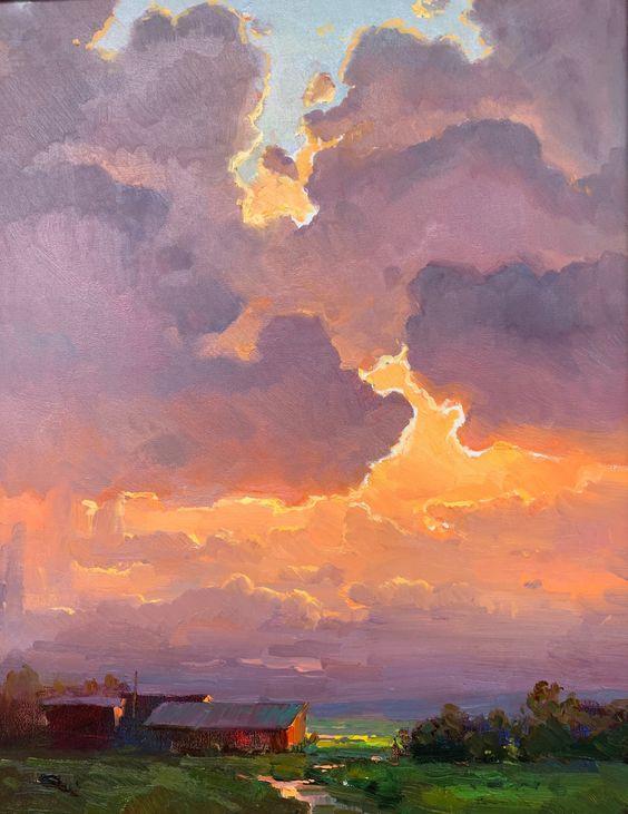 Ovanes Berberian Landscape Art Sky Painting Landscape Paintings