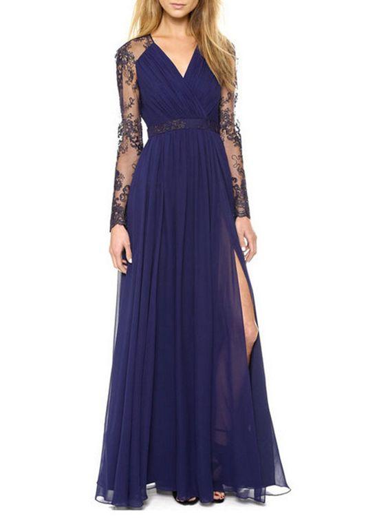V-Neck Side Slit Lace Plain Evening Dress