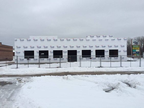 The snow won't keep us from building... the new store in Howard, WI is coming along nicely!
