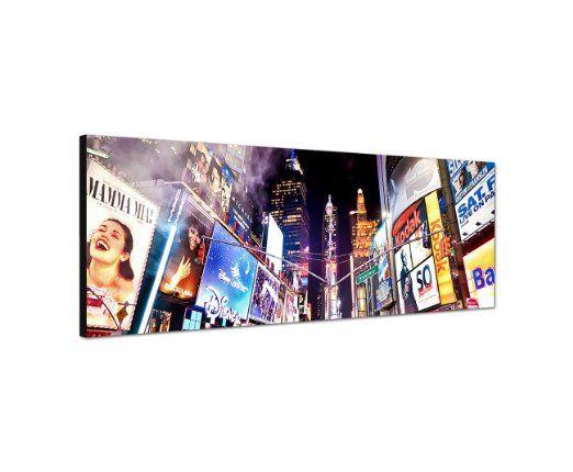 Wandbild auf Leinwand als Panorama in 150x50cm New York Broadway Leuchtreklamen