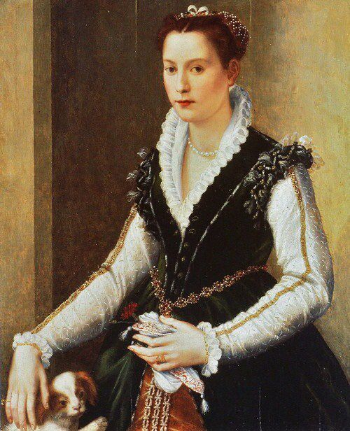 The wedding portrait of Isabella de' Medici (1542-1576), by Alessandro Allori (1560s); the dog is a symbol of fidelity, and the red carnation that she holds, a symbol of betrothal/marriage. (Wikipedia)