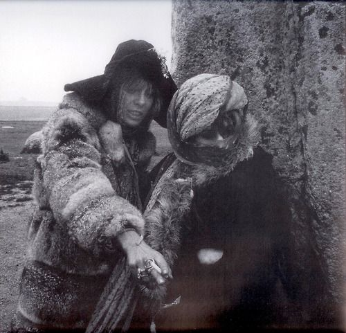slampigs: Anita Pallenberg and Marianne Faithfull at Stonehenge in 1968: