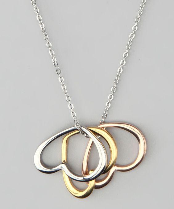 Tri-Color Three Heart Pendant Necklace